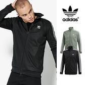 【GT】Adidas Originals 黑綠 外套 運動 休閒 復古 素色 立領 棉質 愛迪達 三葉草 三條線 基本款 經典款