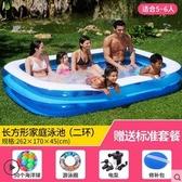 倍護嬰兒童寶寶充氣游泳池家庭大型海洋球池加厚戲水池成人浴缸【透明蓝262两环-标准】