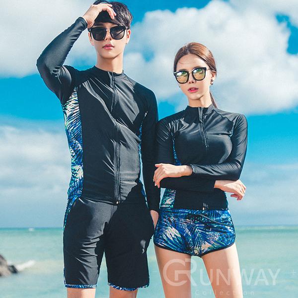 棕梠葉 炫彩情侶款 長袖防曬外套 衝浪款 運動型 小背心+平口褲 三件套 比基尼 集中鋼圈 泳衣