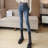 窄管褲 高腰牛仔褲女顯瘦顯高小個子秋裝新款緊身修身九分小腳褲子-年終穿搭new Year