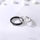 艷炟純銀戒指女 個性日韓潮人簡約學生一對開口情侶對戒食指戒  布衣潮人
