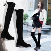新款過膝靴女平底彈力靴小辣椒瘦瘦靴5050長筒靴子女冬季高筒 鹿角巷YTL