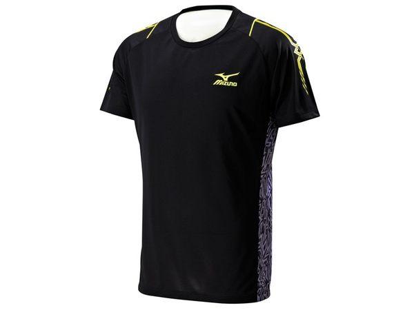 Mizuno  奧運記錄高級昇華印刷設計 男短袖T恤-黑 32TA600109