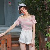 IN'SHOP甜美捲邊彈性條紋上衣-共3色【KT221247】
