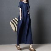 初心 簡約短袖長裙 【D8912】 寬鬆 純色 短袖 長裙 文藝 棉麻 長洋裝 短袖洋裝