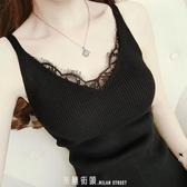 吊帶背心女2017新款夏季百搭蕾絲邊V領針織打底衫修身T恤上衣小衫 「米蘭街頭」