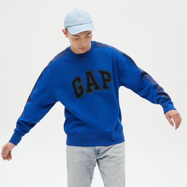 Gap男裝 Logo亮色碳素磨毛休閒上衣 656451-藍色