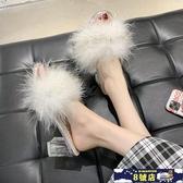 毛毛拖鞋女2020夏季新款網紅外穿高跟一字拖仙女風涼拖鞋ins女鞋 8號店