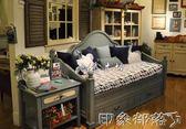 美式實木多用沙發床簡約抽拉沙發床坐臥推拉伸縮沙發床上海 MKS全館免運