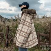 秋冬男裝 冬季加厚格子棉衣韓版寬松撞色格紋棉服毛領連帽棉襖外套 京都3CYJT