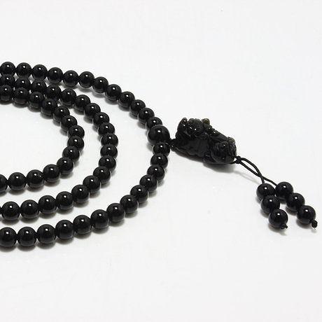 黑瑪瑙招財貔貅纏繞手鏈男女款