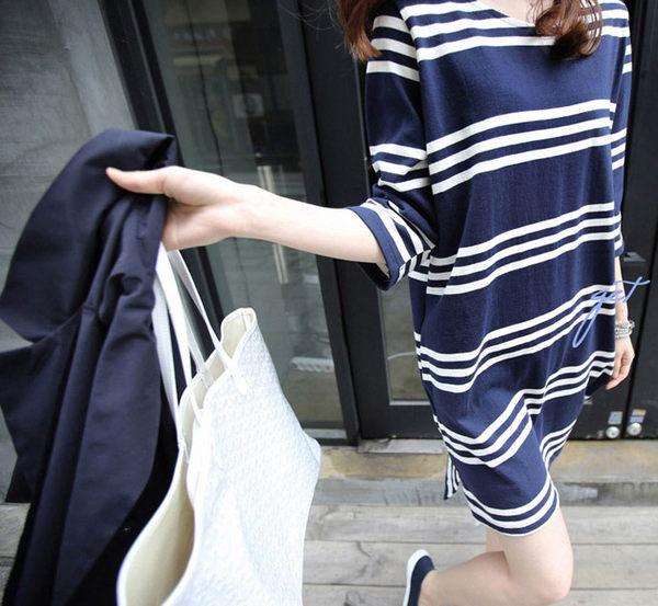 哺乳衣休閒洋裝 寬鬆條紋五分袖連身裙拉鍊開口哺乳衣 艾爾莎【TQT0037】