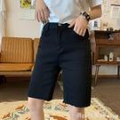 黑色五分褲女2020夏季新款韓版學生鬆緊高腰顯瘦直筒撕邊牛仔褲潮 618購物節