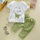 寶寶短袖套裝夏季男童純棉兩件套1-2-3歲[99狂歡購]