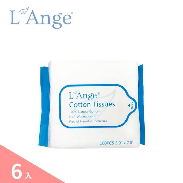 L'Ange 棉之境 純棉護理巾 10x20cm / 100抽 - 6入組 乾濕兩用巾 口水巾 洗屁屁巾 棉柔巾