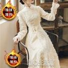 旗袍新款加絨加厚氣質顯瘦顯瘦收腰少女溫柔輕改良版旗袍連身裙禮服 快速出貨