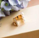 韓版  獨特鏤空鑲嵌多顆珍珠戒指-金色。【BeautyBox】O1603S1017