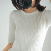 針織短袖女薄款打底衫春秋季新款中袖彈力修身毛衣T恤上衣薄