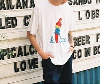 FINDSENSE MD 韓國 潮 男 時尚 街頭 鸚鵡圖案印花 短袖T恤 特色