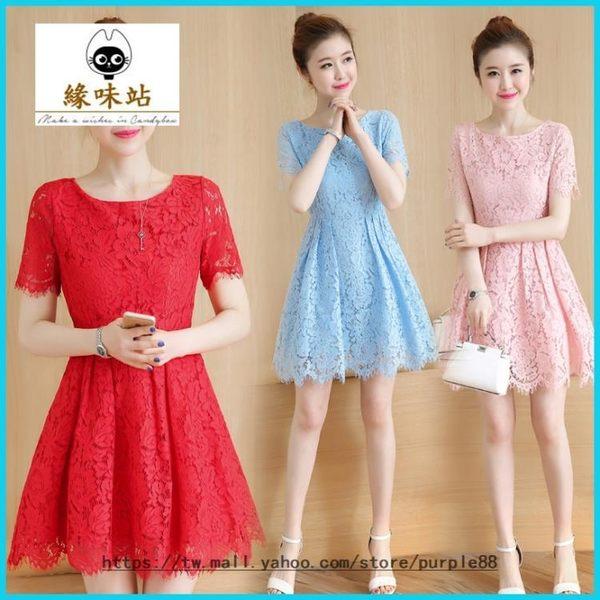 蕾絲洋裝 夏裝女裝 修身收腰顯瘦 中長款短袖紅色裙子【緣味站】YWZ-134785