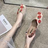 2021春季新款平底單鞋女淺口水果印花菠蘿草莓軟底奶奶鞋孕婦鞋子