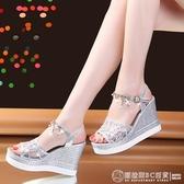 魚嘴涼鞋 坡跟涼鞋女2020夏天新款內增高女鞋仙女風厚底水鉆羅馬鞋魚嘴涼鞋 圖拉斯3C百貨