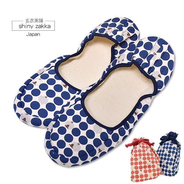 日本室內/旅用布拖-amis點點綿羊摺疊布拖鞋23~24-可收納好攜帶-藍色-玄衣美舖