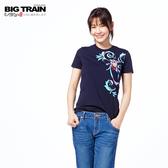 Big Train 花影福氣貓短袖-女-藍