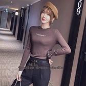 依酷衫 刺繡純棉恤長袖新款修身顯瘦上衣內搭打底衫秋冬