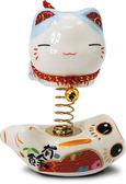 【金石工坊】富貴平安元氣彈簧貓(高7.5CM) 招財貓 陶瓷桌上開運擺飾 汽車擺件