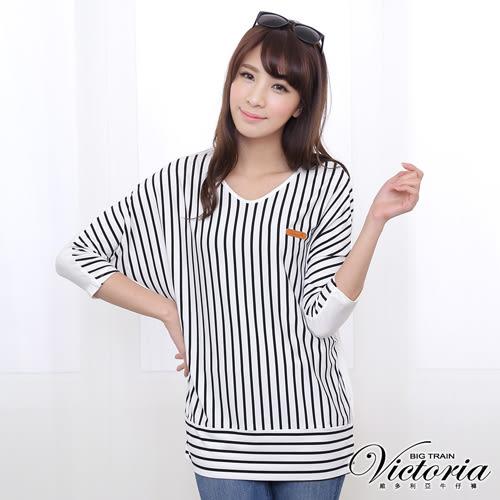 Victoria V領條紋剪接七分袖T-女-黑白條