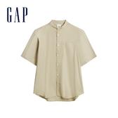 Gap男裝輕盈質感彈力短袖襯衫580023-新沙色