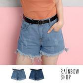 腰鬆緊抽鬚牛仔短褲(附皮帶)-M-Rainbow【A93022-11】