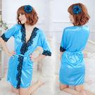 女衣性感低胸水藍色浴袍日系浴衣和服情趣內睡衣女衣禮物情趣睡衣入門款