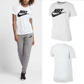 Nike T恤 Essntl Tee Hbr 女款 短袖 上衣 短T 圓弧下擺 透氣 基本款 白黑 白 黑 【PUMP306】 829748-100