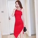 夜店洋裝 2020夏季新款裙子韓版夜店性感露背不規則開叉顯瘦包臀連身裙 JX749『東京衣社』
