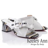 2019春夏_Keeley Ann造型透視跟 條紋撞色交叉中跟拖鞋(白色) -Ann系列