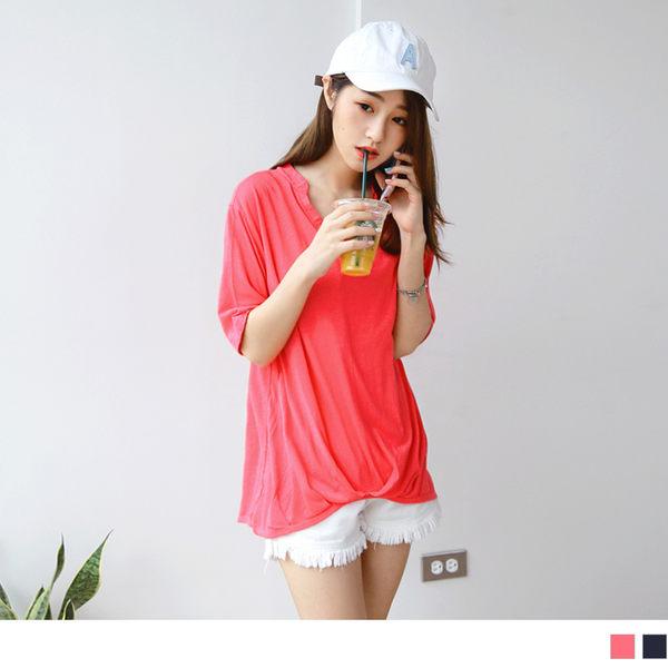 OB嚴選《AB3111-》台灣製造.下襬打褶層次V領假兩件式竹節棉上衣.2色--適 M~XL