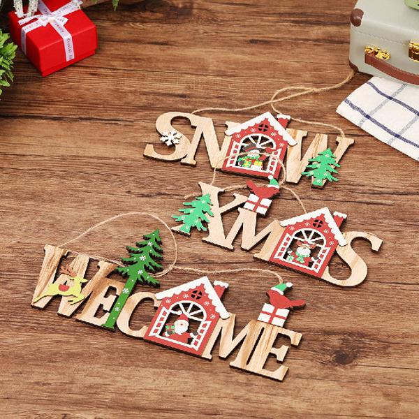 【BlueCat】聖誕節雪花紅房子雪人麋鹿開窗SNOW&XMAS字母 木質門牌