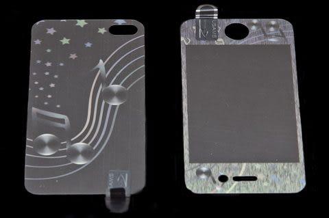 USAMS 3D 雷射Laser 高耐磨 手機螢幕保護貼 Apple iPhone 4S 音符 (二片裝)