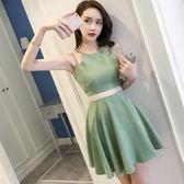 感吊帶鏤空修身顯瘦收腰連身裙