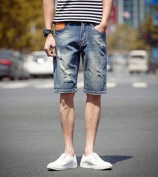 FINDSENSE品牌 時尚潮流 男 日系薄款 破洞 磨白 大尺碼 加肥 加大