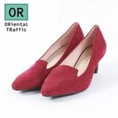 【ORiental TRaffic】極簡主義絨面中跟鞋-雅緻紅
