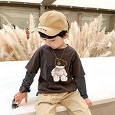 男童長袖t恤2020新款秋裝兒童假兩件加絨打底衫冬裝寶寶加厚體恤 【蜜斯蜜糖】