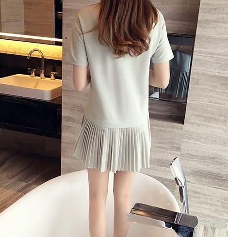 *魔法之城*CC11451夏季中大尺碼時尚寬寬鬆V領拼色百褶大尺碼連衣裙洋裝