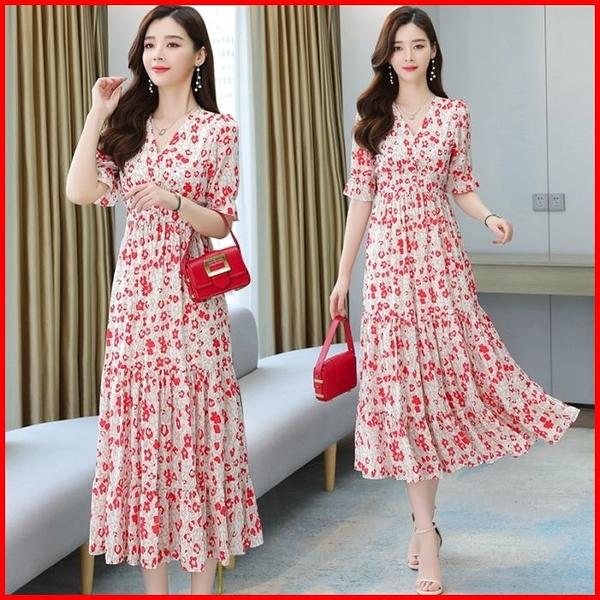韓國風短袖洋裝 夏高腰連衣裙雪紡鬆緊腰過膝碎花連身裙  依多多