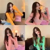 保暖長袖 新款網紅初秋女裝上衣輕熟韓版堆堆袖修身打底衫長袖t恤女潮 布衣潮人
