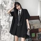 西裝上衣西裝外套女2020年夏季新款ins韓版雙排扣寬鬆休閒薄款短袖上衣潮 潮人