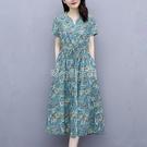 棉麻連衣裙2021夏季新款女短袖收腰碎花中長款洋氣休閒高檔裙子潮 快速出貨