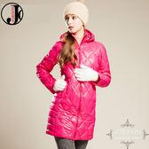 JORDON 橋登 JD5023-桃 女菱格紋長版超輕羽絨外套 輕量化羽絨衣/可收納羽絨衣/保暖羽絨外套